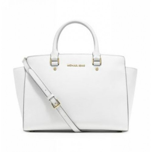 Michael Kors Large Selma Top-Zip Satchel White
